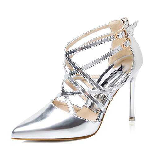 1084f812984177 LGK FA Summer Women S Sandals Europe And The United States High Heels Summer  Fine With Shallow Mouth Pointed Shoes Hollow Cross Strappy Sandals  Nightclub ...
