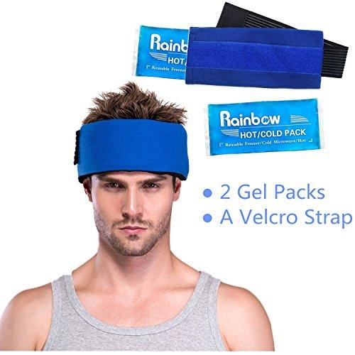 Pack de 2 bolsas de gel Paquete hielo con correas elásticas de velcro - Para tratamiento de compresión con frío y calor en cuello, rodilla, hombro, brazo y cabeza - Recuperación y alivio efectivo del dolor,apto para microondas y reutilizable