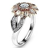 YunYoud Sonnenblume Blume Farbseparation Zirkon Ring schmuck damenring größe ringe schwarz dünner silberring silberschmuck ring gelbgold große damen moderne günstig bandring