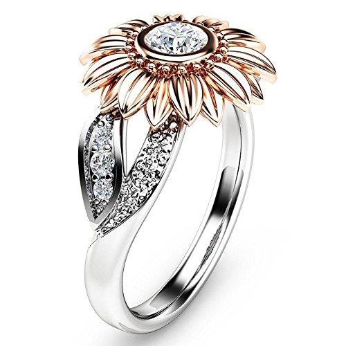 LABIUO Damenring, Luxus 925 Sterling Silber Ring Runder Diamant Sonnenblume Ring mit Zirkonia Verlobungsring für Damen(Rose Gold,7)