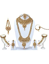 Lucky Jewellery Traditional Golden Color Alloy Bridal Set For Women And Girls