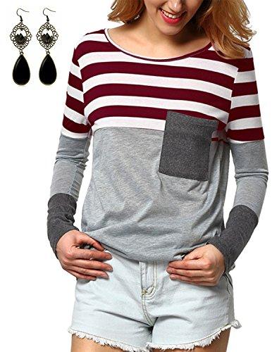 sitengle Donna Giuntura T-Shirt Maglie a Manica Lunga Tunica Camicie Girocollo Casual Felpa Basic Top Nero
