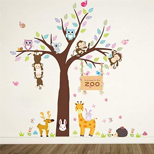 RQMQRL Dschungel Wild Forest Zoo Tiere Baum Eule AFFEWandaufkleber Kinderzimmer Kindergarten Kinder Wohnkultur Wandtattoo Wandbild Poster