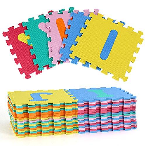 Imagen para Yorbay Alfombra puzzle para Niños bebe infantil, esteras de 32x32 cm, 36 piezas Numeros 0 al 9 y 26 Letras en Espuma EVA
