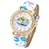 JSDDE Uhren,Oktoberfest Fashion Damen Strass Armbanduhr Bunt Lippen Muster Elegant Quarzuhr Lederband Analog Quarz Uhr,Blau-Pink