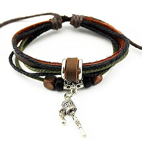 Véritable Spark mixte Multicolore cordons brins Cuir Bracelet en perles de bois prière Roue Pendentif Bracelet