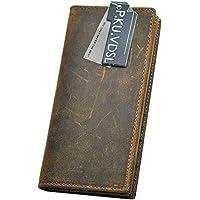 P.KU.VDSL® Vintage Portafoglio in Pelle Uomo Borsa Bifold Vera Pelle Classico Carta Di Credito Titolare