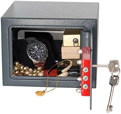 Xcase Mini-Safe-Tresor: Kompakter Stahlsafe mit 2 Doppelbart-Schlüsseln, 5 Liter (Minitresor) Stahl-safe