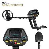 TOPQSC MD-4080 Detector de Metales,Alta sensibilidad, Todos los Modos de Metal y Disco, Puntas de Audio, Eje Ajustable Impermeable, con Pala Plegable y Mochila, Adecuado para Adultos y niños