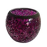Teelicht Kerzenhalter - TOOGOO(R)Handgefertigt Deko Glas Teelicht Kerzenhalter,Schwarz Rand Lila