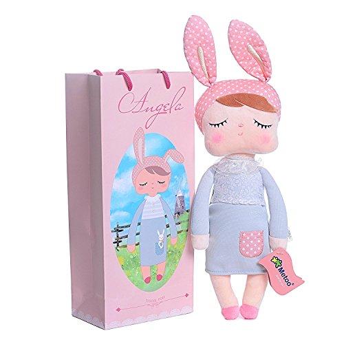 für Mädchen Mama, Metoo Schlafen Angela Girl Plüsch Kleid Bunny Kaninchen Spielzeug Puppen, Blau und Pink (32cm x 14cm x 8 cm) (Tier-puppen)