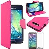 ebestStar - pour Samsung Galaxy A5 SM-A500F (2015) - Housse Coque Etui Portefeuille Support PU Cuir + Film protection écran en VERRE Trempé, Couleur Rose [Dimensions PRECISES de votre appareil : 139.3 x 69.7 x 6.7 mm, écran 5'']