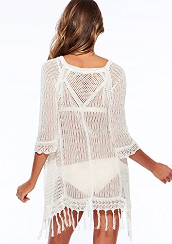 Robes de Plage de Maillots de Bain Bikini Crochet Chemisier Col Rond Avec Manches Avec Gland Cover Up Plage Paréos Femme Blanc