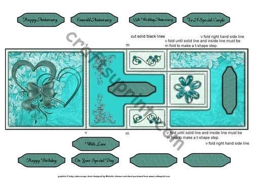 Smeraldo anniversario cuori t-step Tri fold by Michelle Johnson