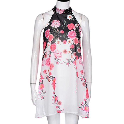 Mini-robe d'été Pour Femme,Tonwalk Robe Short Casual Floral Round Neck Cut Out Blanc