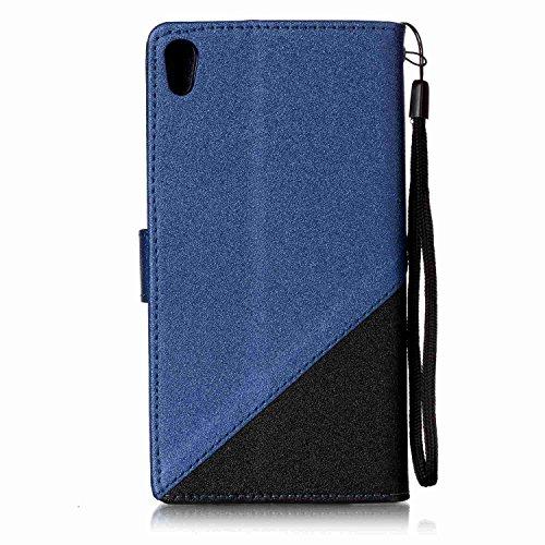 Qiaogle Téléphone Coque - PU Cuir rabat Wallet Housse Case pour Apple iPhone 5 / 5G / 5S / 5SE (4.0 Pouce) - YX31 / Noir + Brun foncé YX34 / Noir + Dark Bleu