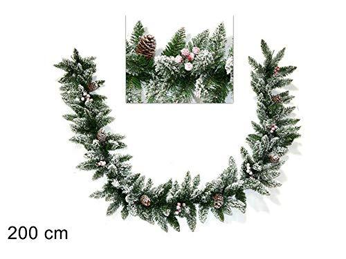 Vetrineinrete® festone natalizio innevato con bacche e pigne 200 cm 30 cm largo ghirlanda natalizia artificiale di natale 130 rami con neve pino abete decorazioni e addobbi natalizi a77