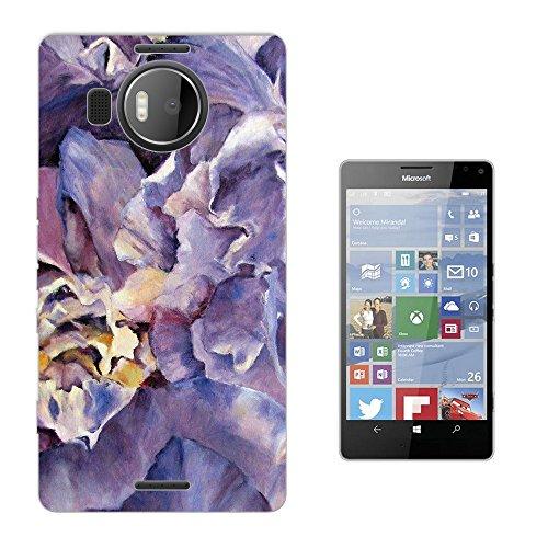 002923 - Purple Floral Roses flowers Petals Waves Effect Design Microsoft Nokia Lumia 950 XL Fashion Trend Silikon Hülle Schutzhülle Schutzcase Gel Rubber Silicone Hülle