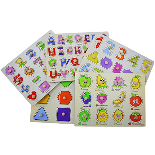 AsianHobbyCrafts Wooden Educational Board Puzzle Toy for Kids: Set of 5pcs (Assorted)