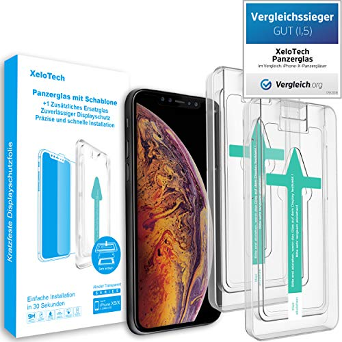 XeloTech [2 Pack] Premium Schutzglas Folie kompatibel mit iPhone XS/X mit Schablone zur Positionierung - Displayschutzfolie aus 9H Glas - Handy-Hülle kompatible Schutzfolie