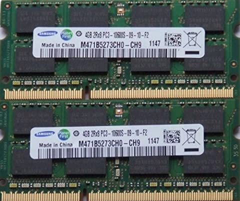 Samsung ram memory 8GB kit, (2 x 4GB), DDR3 PC3 10600, 1333Mhz, 204 PIN, SODIMM for laptops