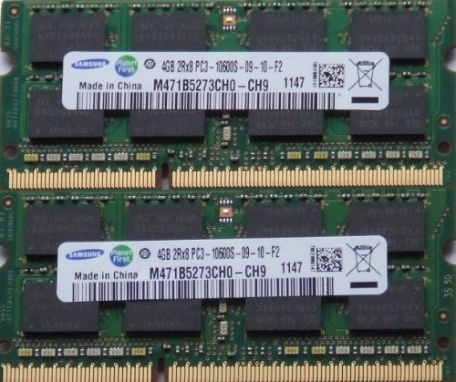 Samsung ram memory 8GB kit, (2 x 4GB), DDR3 PC3 10600, 1333Mhz, 204 PIN, SODIMM for laptops