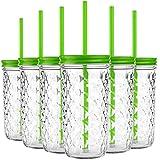 My-goodbuy24 6er Set Trinkbecher Trinkgläser Struktur Grün Desgin mit Deckel und Strohhalm - Trinkglas - Cocktailglas - Glas - Gläser - Füllmenge 550 ml