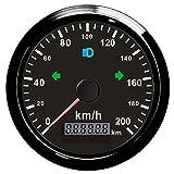 Borsa moto GPS tachimetro contachilometri 0-200km/h totale chilometraggio regolabile 85mm con luce posteriore