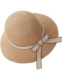 Yuncai Estate All aperto Donna Protezione Solar Spiaggia Paglia Cappello da  Sole Casuale Vacanza Papillon 3f9185b6de8b