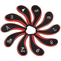 Color rojo–juego de 10palos de golf hierro Golf Headcovers Cabeza Cubierta Protectora de Neopreno con soporte rojo y negro 3456789A Sw Pw