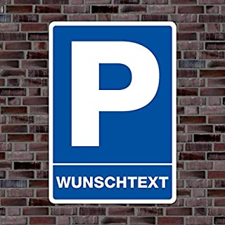 Parkplatzschild mit Ihrem WUNSCHTEXT oder KENNZEICHEN- Hochwertiges Alu-Verbundmaterial - (21 x 15cm - ca. DIN A5)