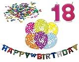 Happy Birthday 18. Geburtstag Deko Set Girlande 6x-Ballons, Geburtstagskerzen, Konfetti