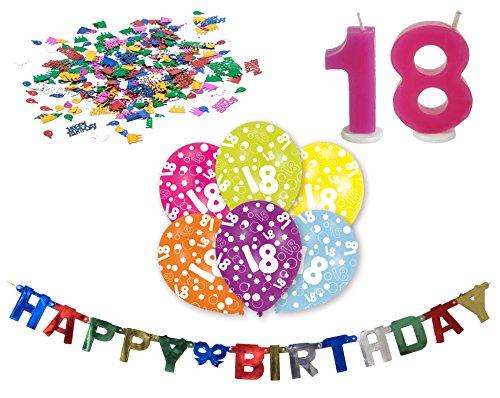 eburtstag Deko-Set Girlande 6x-Ballons Geburtstags-Kerzen Konfetti (18 Geburtstag Cupcake Dekorationen)