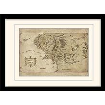 Pyramid International FP10452P-PL The Hobbit Middle Earth Map - Póster con marco y paspartú, diseño de mapa de la Tierra Media