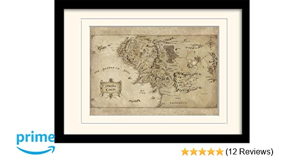 The Hobbit Middle Earth Map A3 Framed and Mounted Print: Amazon.co ...