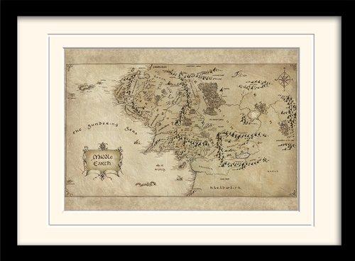 Pyramid International - Póster enmarcado (A3), diseño de mapa de Tierra Media de El Hobbit