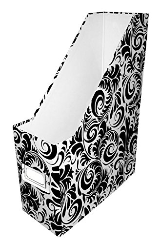 snap-n-store Jumbo Magazin Datei Box, schwarz Fiberboard, mit Inhalt Label Halter, 11,4cm Breite x 28,6cm Tiefe (sns01637) Magazin-Datei Black and White Scroll Black and White Scroll (Label Crate)