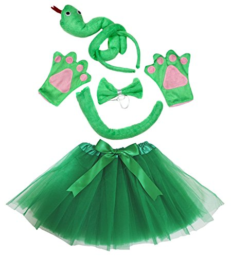 Cobra Kostüm Ninja Kinder - Petitebelle Green Snake Headband Bowtie Tail Gloves Tutu 5pc Girl Costume (Green)