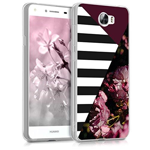 kwmobile Huawei Y6 II Compact (2016) Hülle - Handyhülle für Huawei Y6 II Compact (2016) - Handy Case in Pink Schwarz Weiß