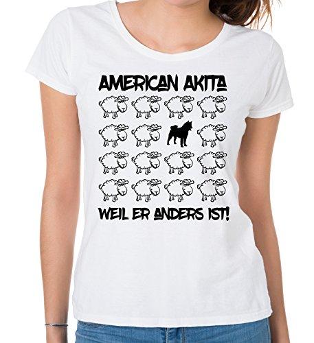 Siviwonder WOMEN T-Shirt BLACK SHEEP - AMERICAN AKITA - Hunde Fun Schaf Weiß
