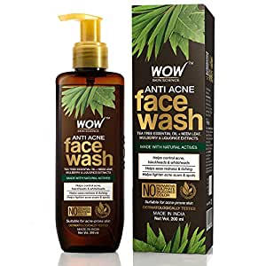 WOW Skin Science Anti Acne Face Wash - Oil Free - No Parabens, Sulphate, Silicones & Color (200mL)