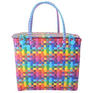 Durable Multicolor Multipurpose Large Reusable Large Picnic Basket / Shopping Bag / Tiffin Bag