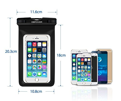 db DBPOWER Funda Impermeable Móvil  Funda Bolsa Sumergible y Colorida para iPhone 6/6 plus/6s/6s plus/5/5s/4  Samsung Galaxy S6/S6 Edge/S5/S4  Note 4/3/2  Certificado IPX8 para 100 Pies  Ventana Transparente y Sensible al Tacto