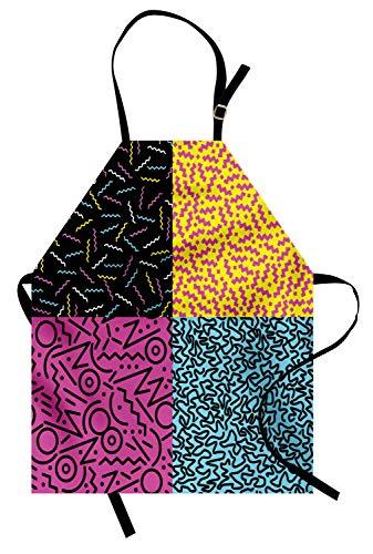 ABAKUHAUS Indie Kochschürze, Weinlese-Achtziger-Mode-Art-Muster-Bunte flippige Pop-ungewöhnliche Gekritzel-Druck, Farbfest Höhenverstellbar Waschbar Klarer Digitaldruck, Mehrfarbig