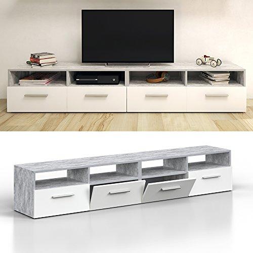 Lowboard DIEGO Set 180 cm Weiß / Beton - Fernsehtisch Sideboard Fernsehschrank Grau Board Schrank -