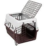 Transportbox mit 2 Türen, Haustier, Hund, Katze, Weiß & Braun von Pet Vida