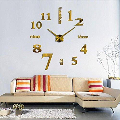 Wanduhr Moderne große DIY Wanduhr 3D Spiegel Wandaufkleber Uhr Dekoration , 7# (Holz Sunburst Spiegel)
