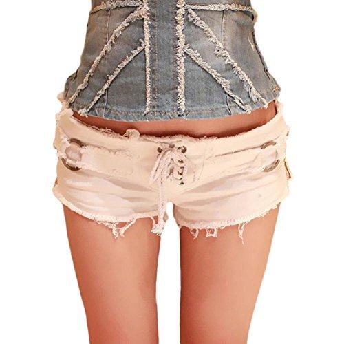 Malloom Femmes Sexy Jeans Short Pantalon Taille Basse Super Mini Pantalons Courts Blanc