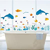 DecoBay Dolphins/Sea/Fish/Starfish/Coral Premium Wall Stickers - Removable and Repositionable- Children
