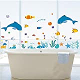 DecoBay Dolphins/Sea/Fish/Starfish/Coral Premium Wall Stickers - Removable and Repositionable- Childrens room Wall Stickers Decorations